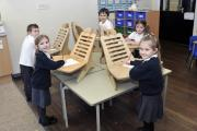NOT RESTING ON THEIR LAURELS: Children in the Kingfisher class at Gisburn Primary School are trialling the new standing desks