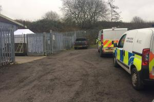 CALLOUT: Police at the scene where the body was found in Cross  Fold, Blackburn, off Haslingden Road