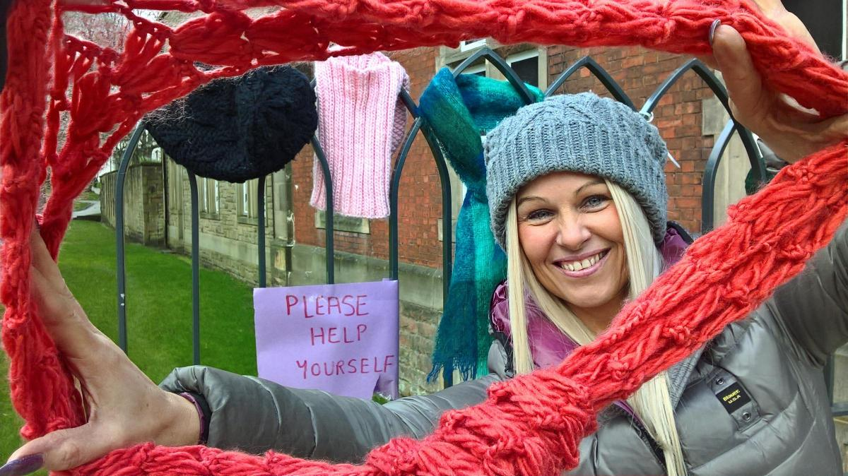 Charity puts out coats, hats and scarves in town centre for