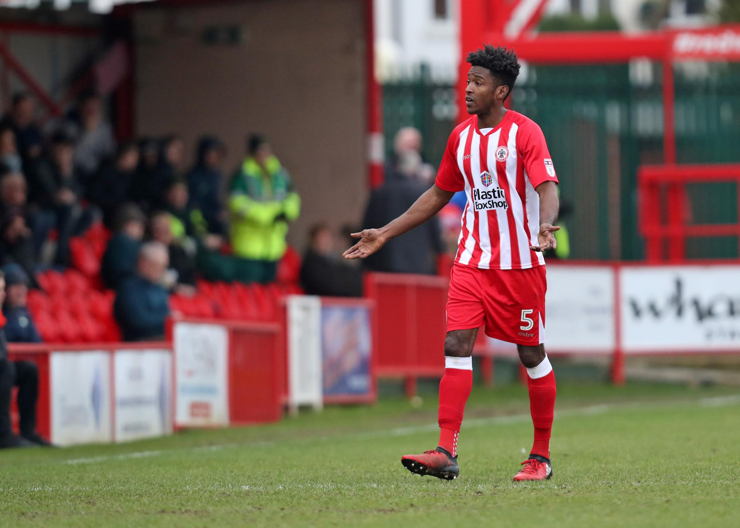 OFF: Omar Beckles saw red in Stanley's win over Colchester