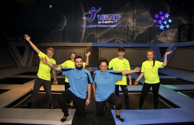 Lancashire Telegraph:  Nathan McCartney, Leah Flatman, Ben Clifton, Carmela Davenport, Emmett Archer and Adele Pritchard at the opening of Jump Works Trampoline Park in Accrington last year