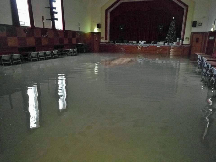 FLASHBACK: The rainwater damage to the ballroom at Padiham Town Hall, after the Boxing Day floods in 2015