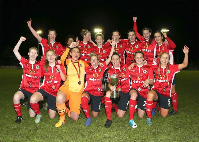 JOY: Rovers Ladies celebrate after winning the Lancashire Challenge Cup at the County Ground in Leyland Picture: KIPAX