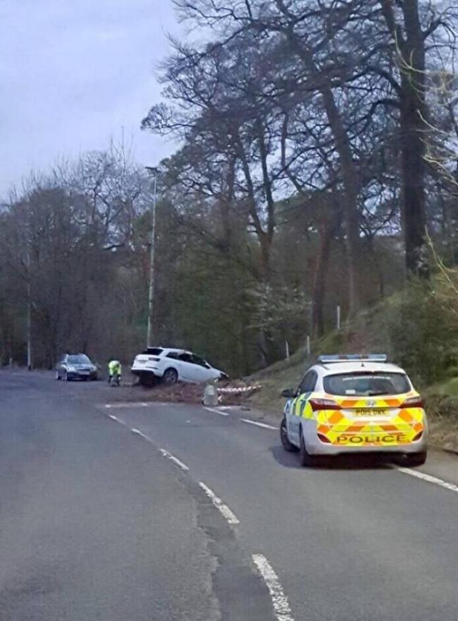 CRASH: The Audi Q7 was recovered in High Street, Belmont