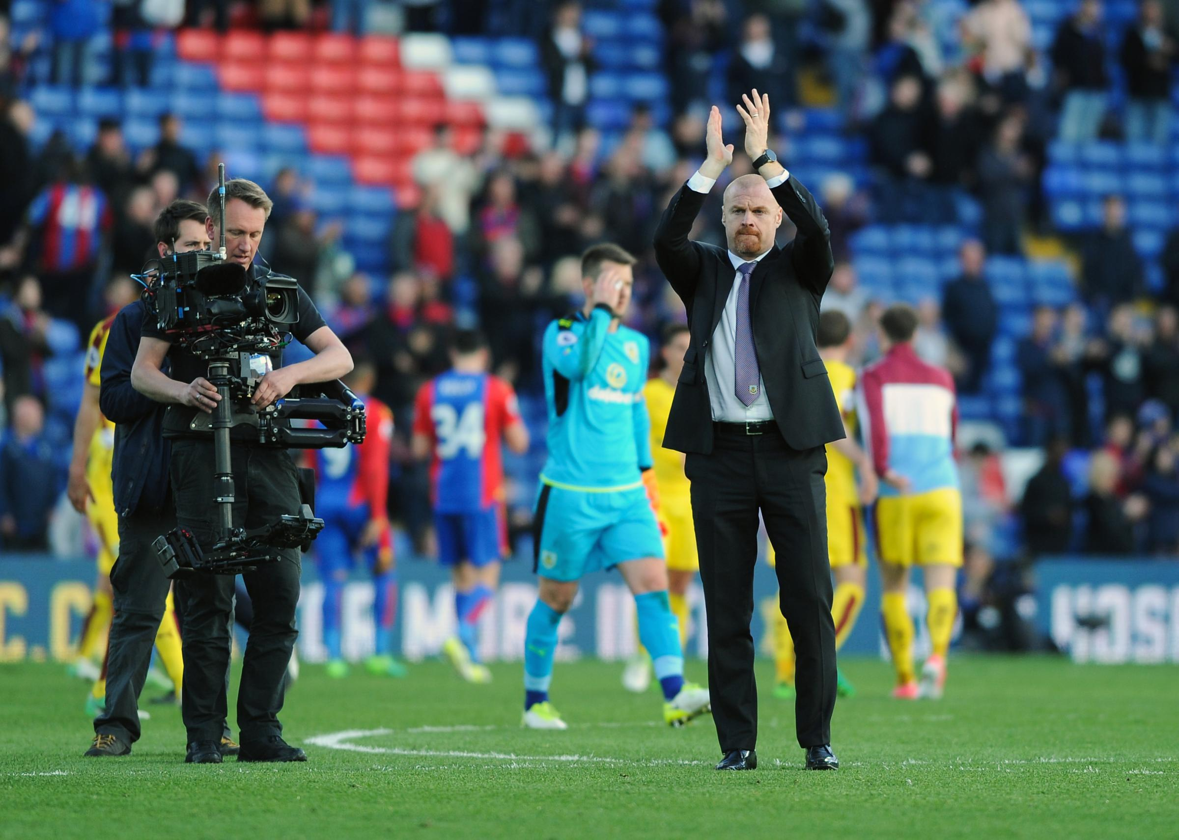 Sean Dyche applauds the Burnley fans after the win at Crystal Palace last season