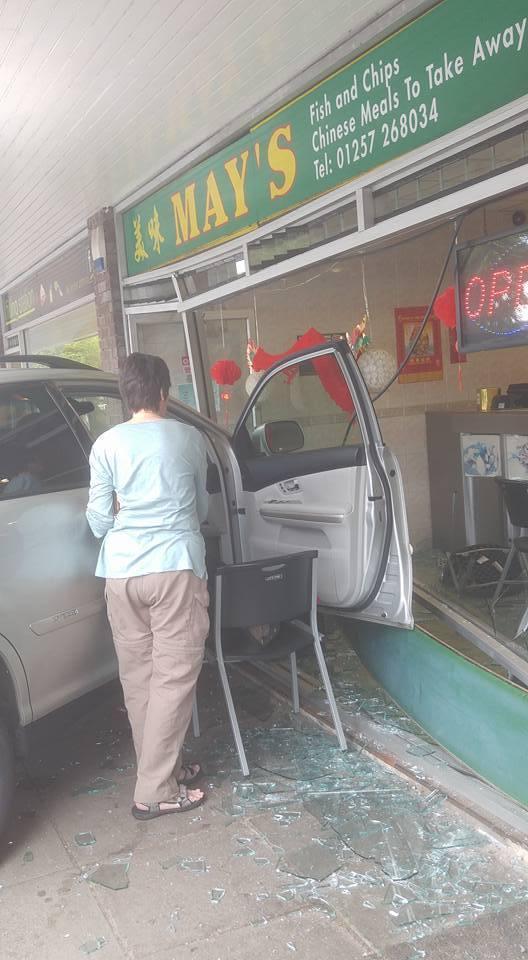 diy car crash car crashes into chip shop in runshaw lane euxton lancashire