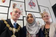 Mayor and Mayoress of Pendle, Cllr David Whalley and his wife Barbara, with Nelson and Colne student Aminah Akhtar at their annual Arts and Design Exhibition
