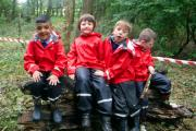 White Ash Primary School pupils - L-R Fazeel Arif, Oliver Aspinall, Jack Wolfenden, Toby McMorris enjoying their outside learning
