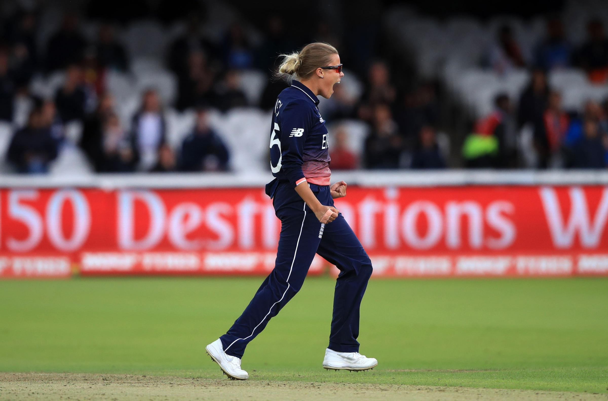 England's Alex Hartley celebrates the wicket of India's Sushma Verma during the ICC Women's World Cup Final at Lord's, London. PRESS ASSOCIATION Photo. Picture date: Sunday July 23, 2017. See PA story CRICKET Final. Photo credit should rea