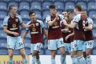 HIGH FIVES: Kevin Long and Sam Vokes celebrate the Clarets second goal against Preston