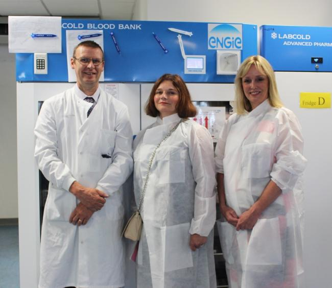 Picture caption: Haematology Manager, Stephen Rigby with Julie Cooper MP and Clinical Director for Laboratory Medicine, Dr Kathryn Brownbill