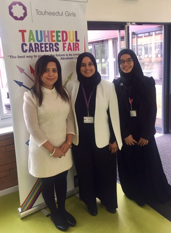 Senior ITV News Producer Roohi Hasan (left) was a guest speaker at TIGHS' Careers Fair – pictured with (centre) Bashira Patel, TIGHS' Director of Futures, and (right) Year 12 pupil Umaira