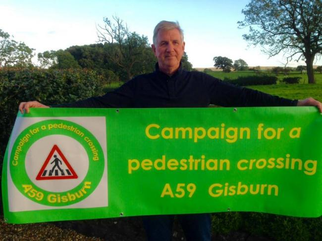 Gisburn cllr David Waters is heading a campaign for the creation of a pedestrian crossing on the A59 through Gisburn