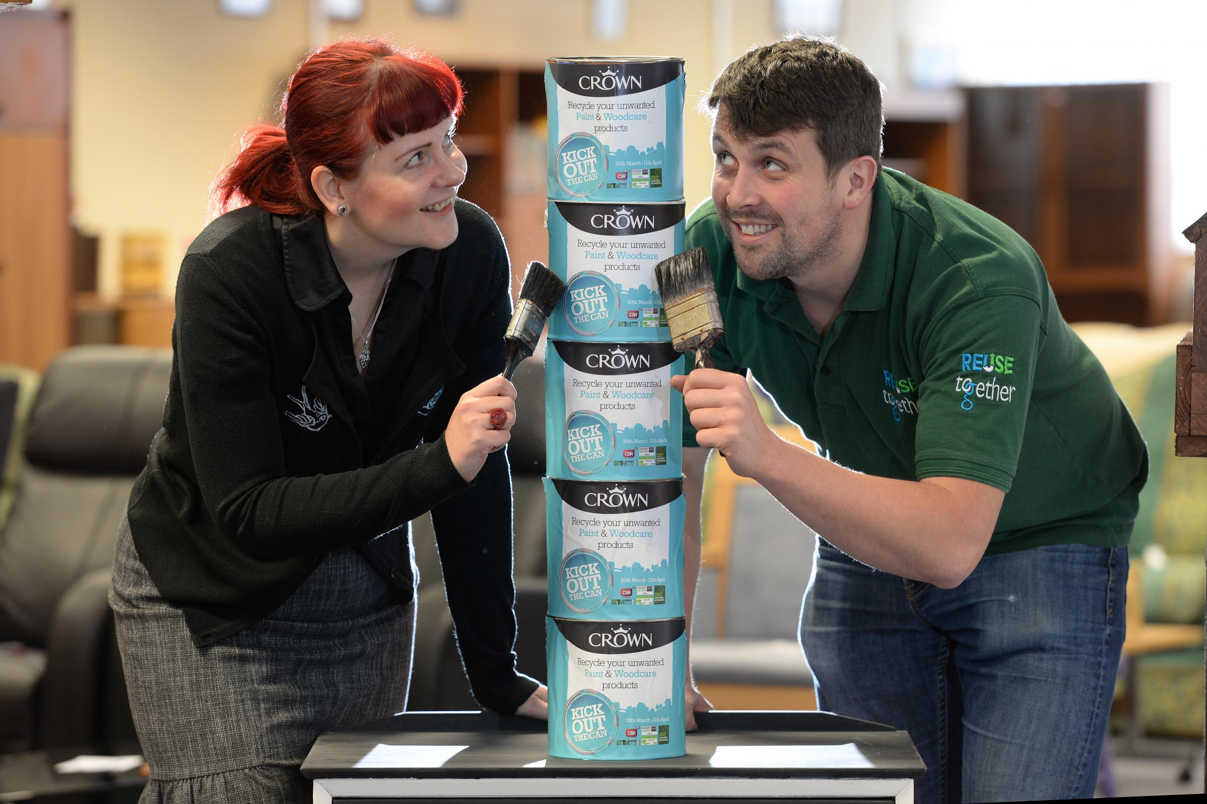 Tim Bradley 23.09.2015.Crown Paints has donated paint to the ReUse Together social enterprise venture Glenfield Business Park, Phillips Road, Blackburn..Pictured here are (l-r) Rachel Demaine Sustainability Technology Officer at Crown Paints and Paul O&#3