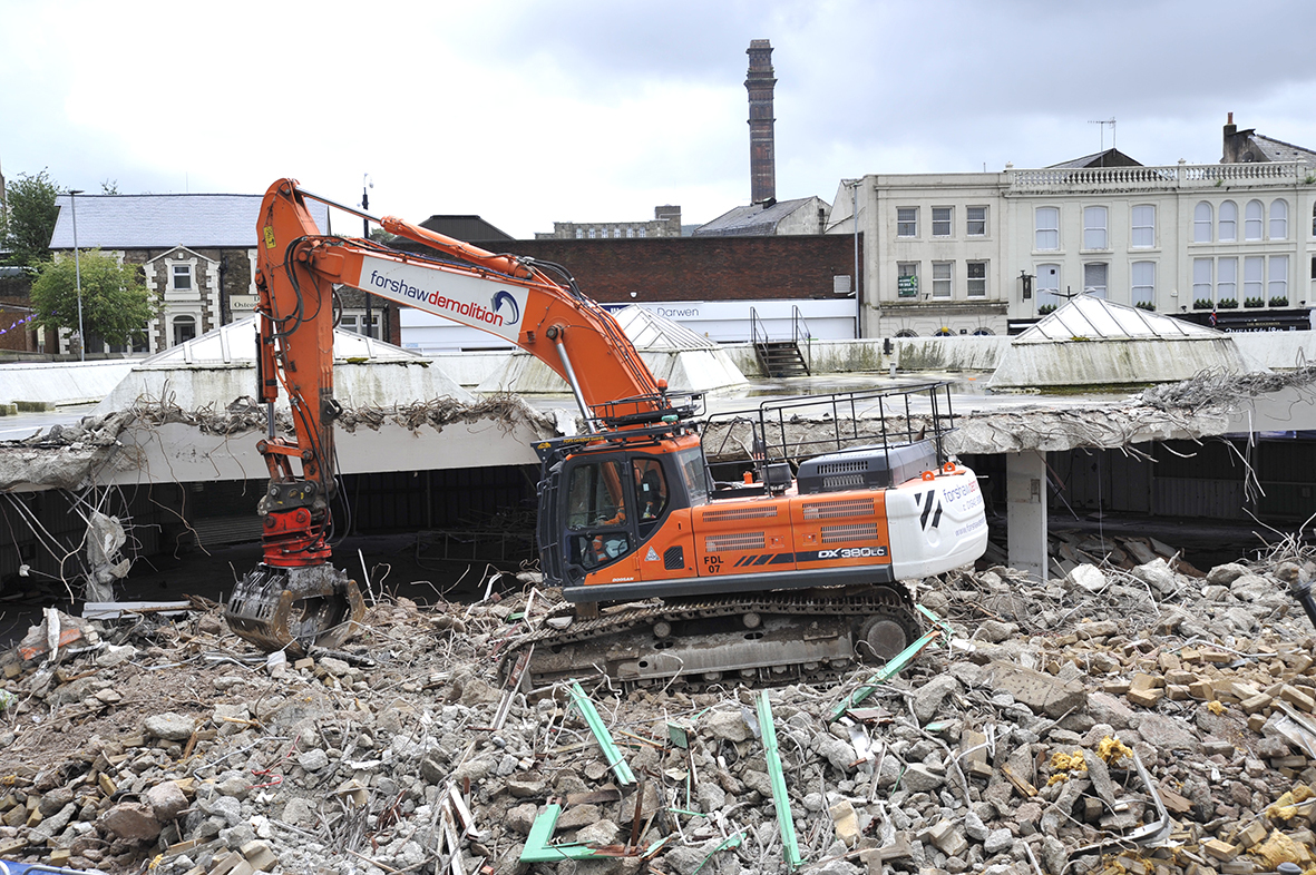 Demolition work continues on the three day market in Darwen.