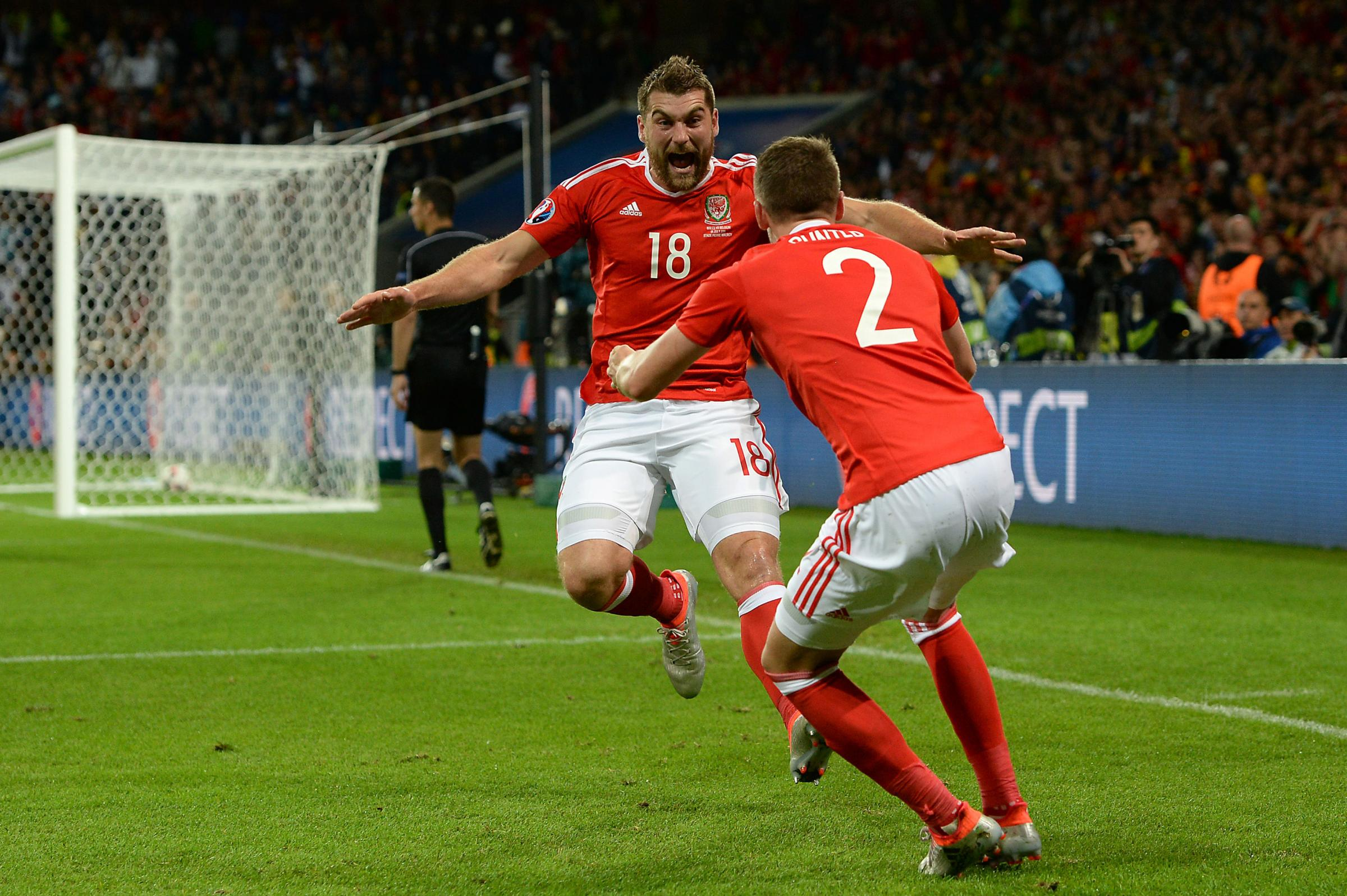 Sam Vokes celebrates his goal for Wales against Belgium in the Euro 2016 quarter-final