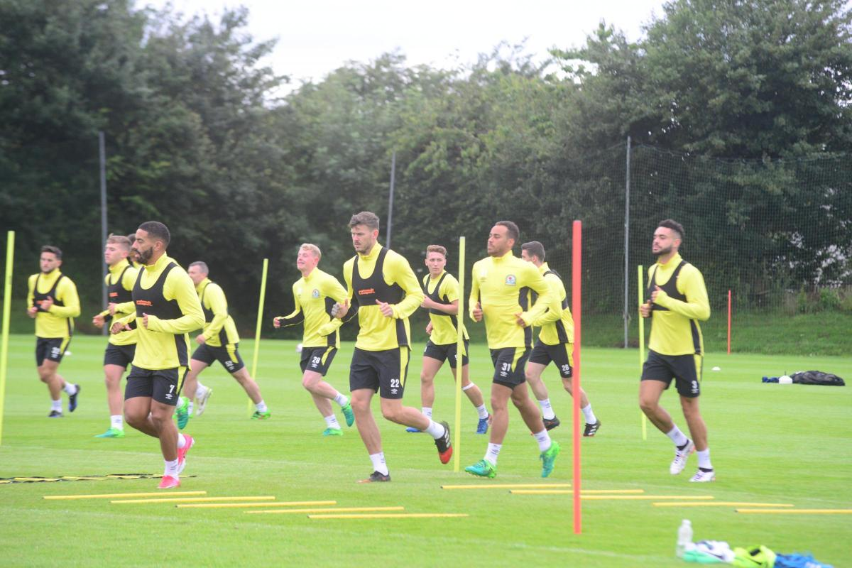 Rovers players going through their pre-season warm-ups at Brockhall earlier this season