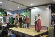 Children acting out a Viking drama piece (from L-R): Oliver Davidson, Mason Farrell, Zack Roberts, Zack Kitson, Amelia Oakes, Isabelle Cambray and Charlotte White