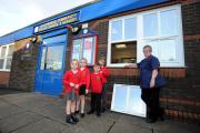 MeadowHead Infant School, Mill Hill, which was broken into overnight and thieves have overturned the school office. Sire manager Freda is seen here with pupils l-r Lailah Ainsworth, Lauren Gill, Aaidon Ainsworth and Zack Dent. Picture by Paul Heyes, Wedne