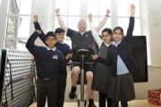 Peter Connor, PE coach takes part in the Bradley School in Nelson Cycle Challenge to raise money to buy pedometers for the pupils, as part of the school's Healthy Challenge Programme. The aim is to tackle childhood obesity by educating children and th
