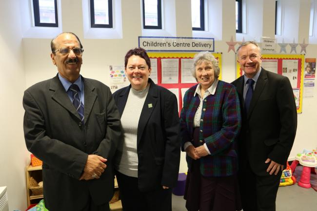 Council leader, Cllr Mohammed Khan with director of children's services Linda Clegg, Cllr Maureen Bateson, executive member for children's services and council chief executive Harry Catherall