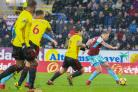 Scott Arfield scores the goal that secured victory over Watford on Saturday