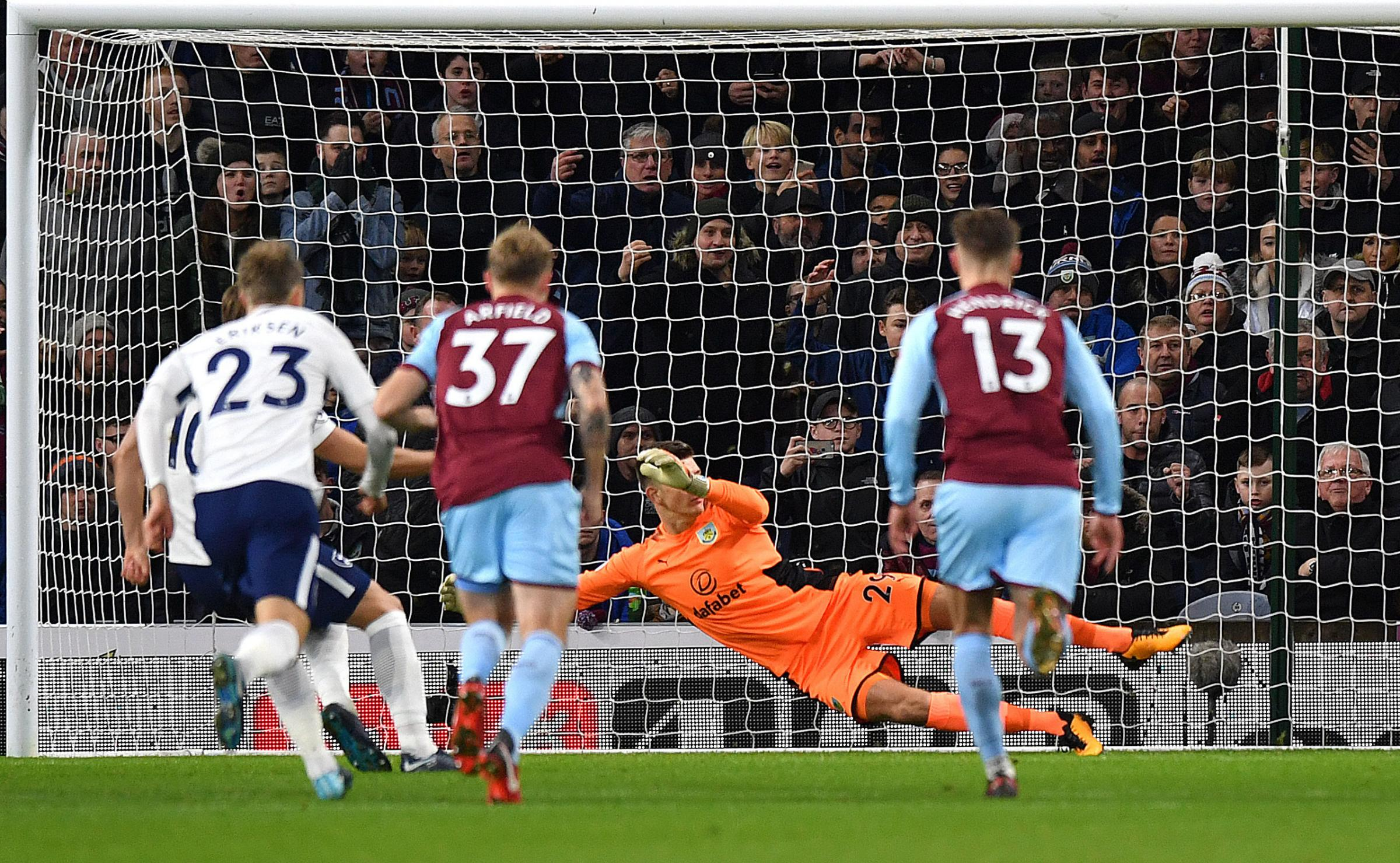 Harry Kane scores the spot after Tottenham were awarded a controversial penalty