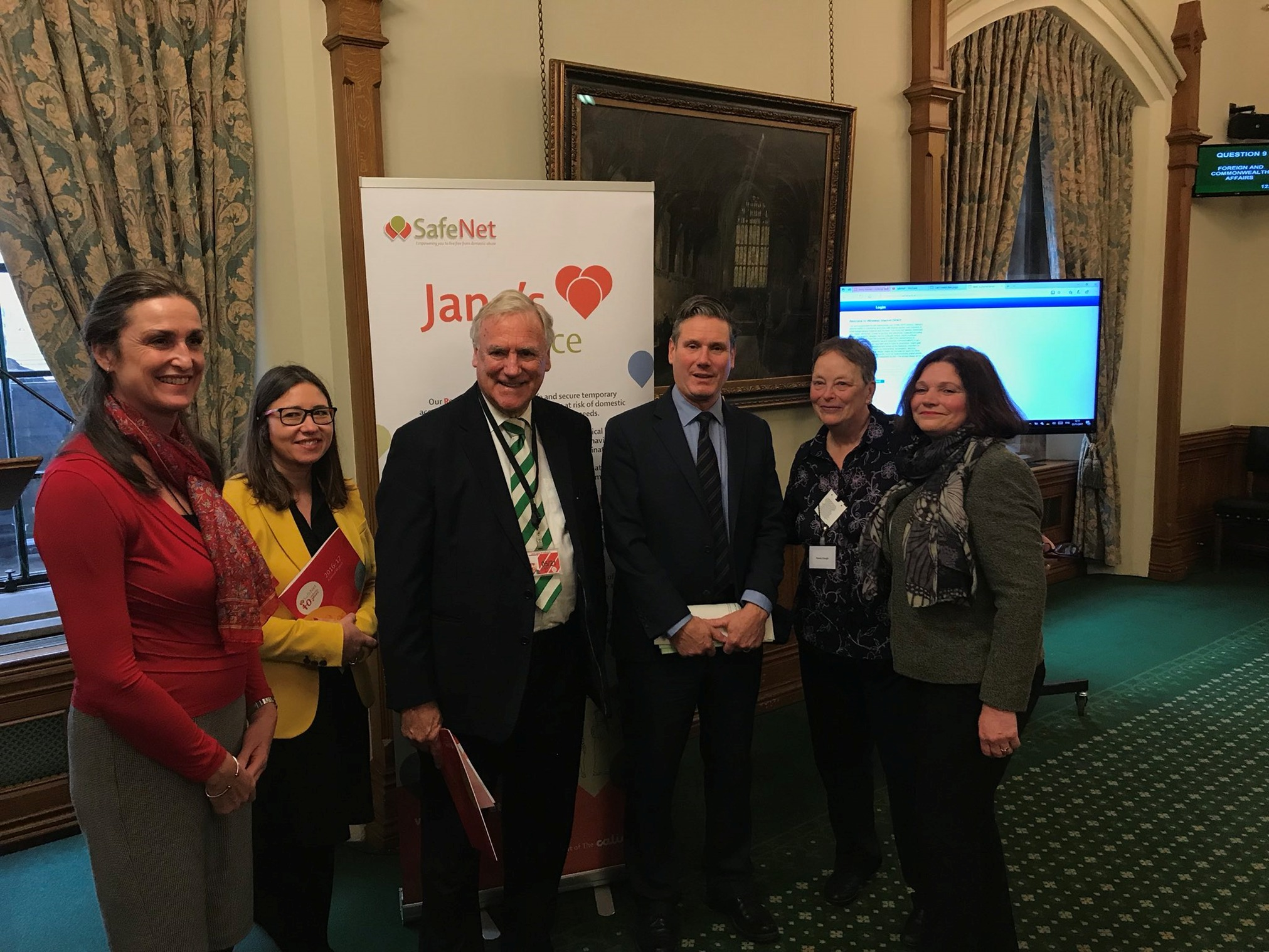 Karen Ainsworth and Rachel Horman from SafeNet's management committee, Lord Taylor of Holbeach and MPs Keir Starmer, Penny Clough and Julie Cooper