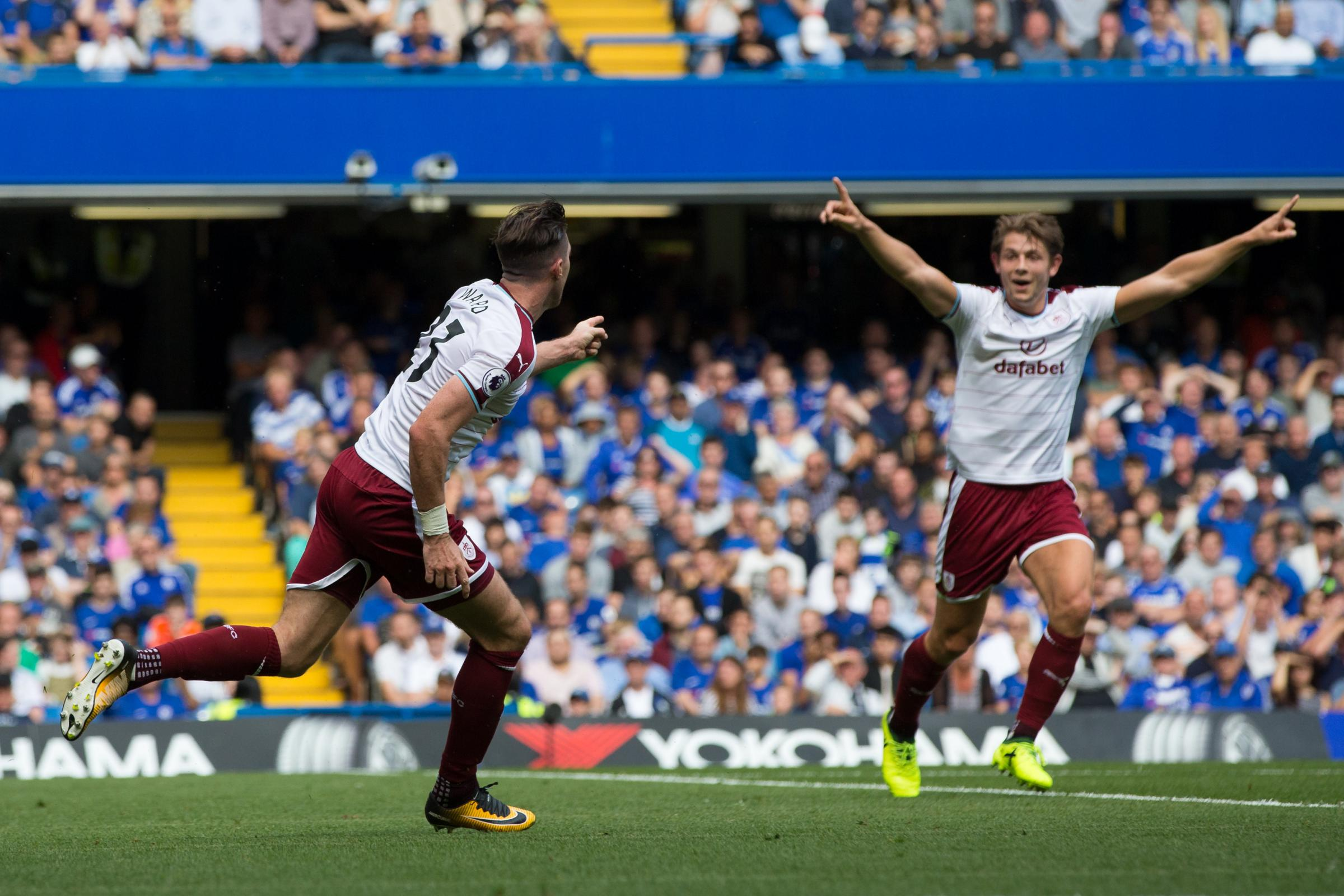 Stephen Ward celebrates his stunning strike at Chelsea on the opening day of the season