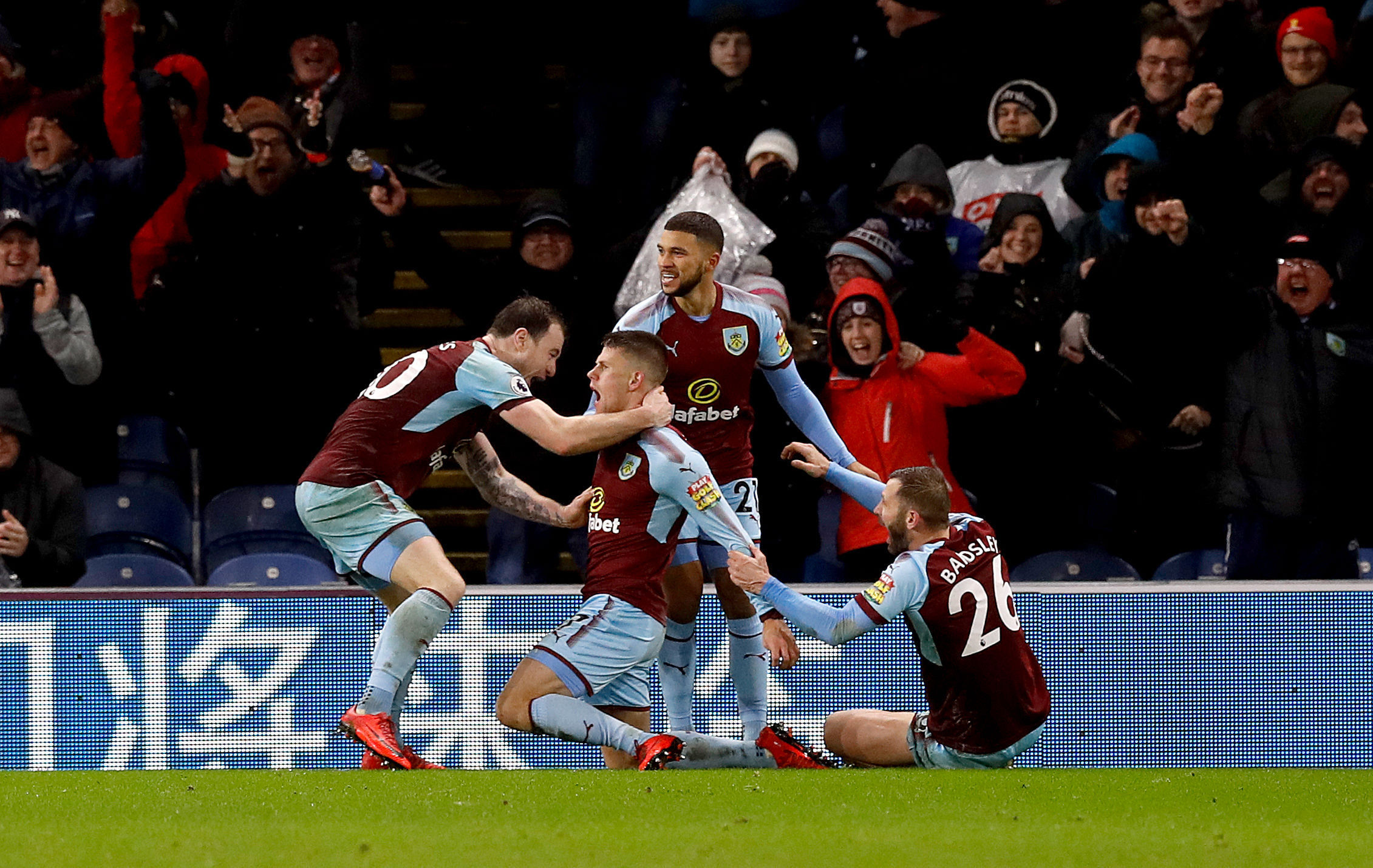 Burnley celebrate Johann Berg Gudmundsson's goal against Liverpool