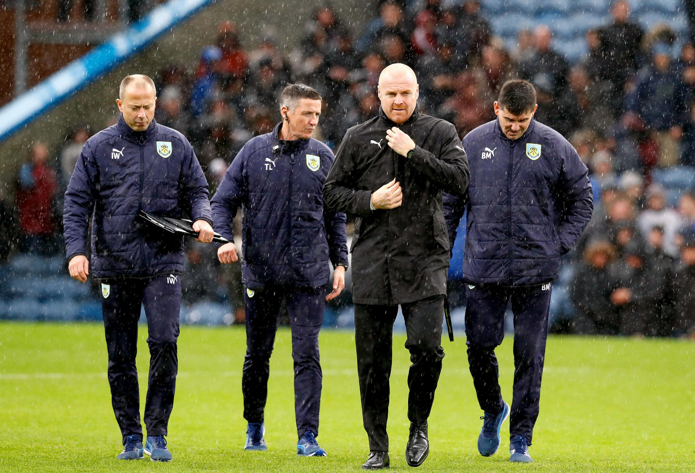 Burnley manager Sean Dyche and his Clarets coaching team