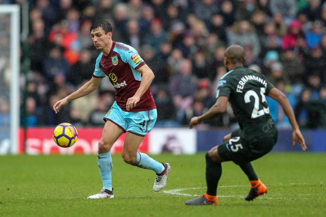 Clarets midfielder Jack Cork in action for Burnley against Manchester City at Turf Moor on Saturday