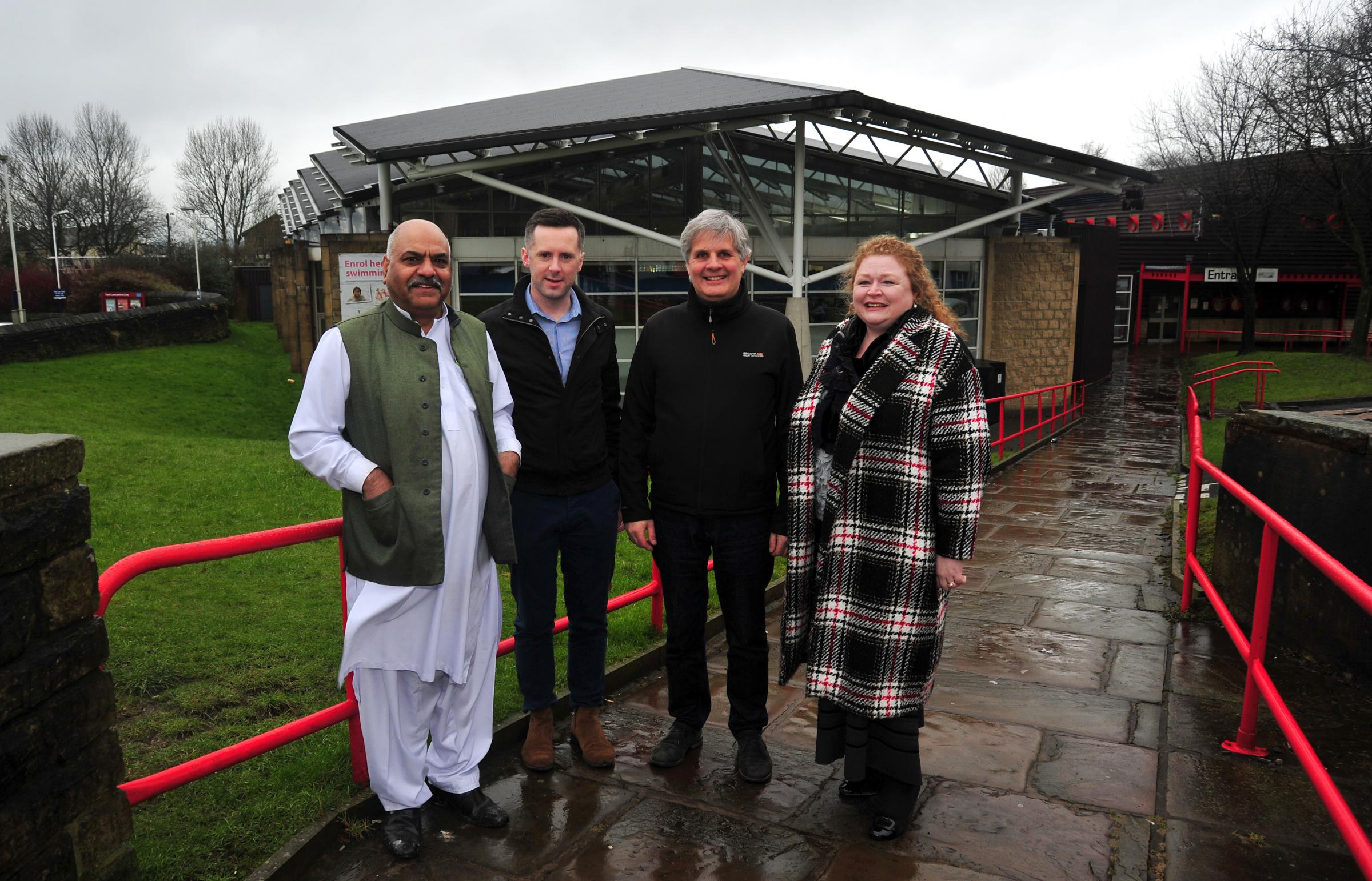 From left: Mohammad Aslam, with fellow Conservatives politicians Paul White, Paul Foxley and Sarah Cockburn-Price at Colne Sports Hall.