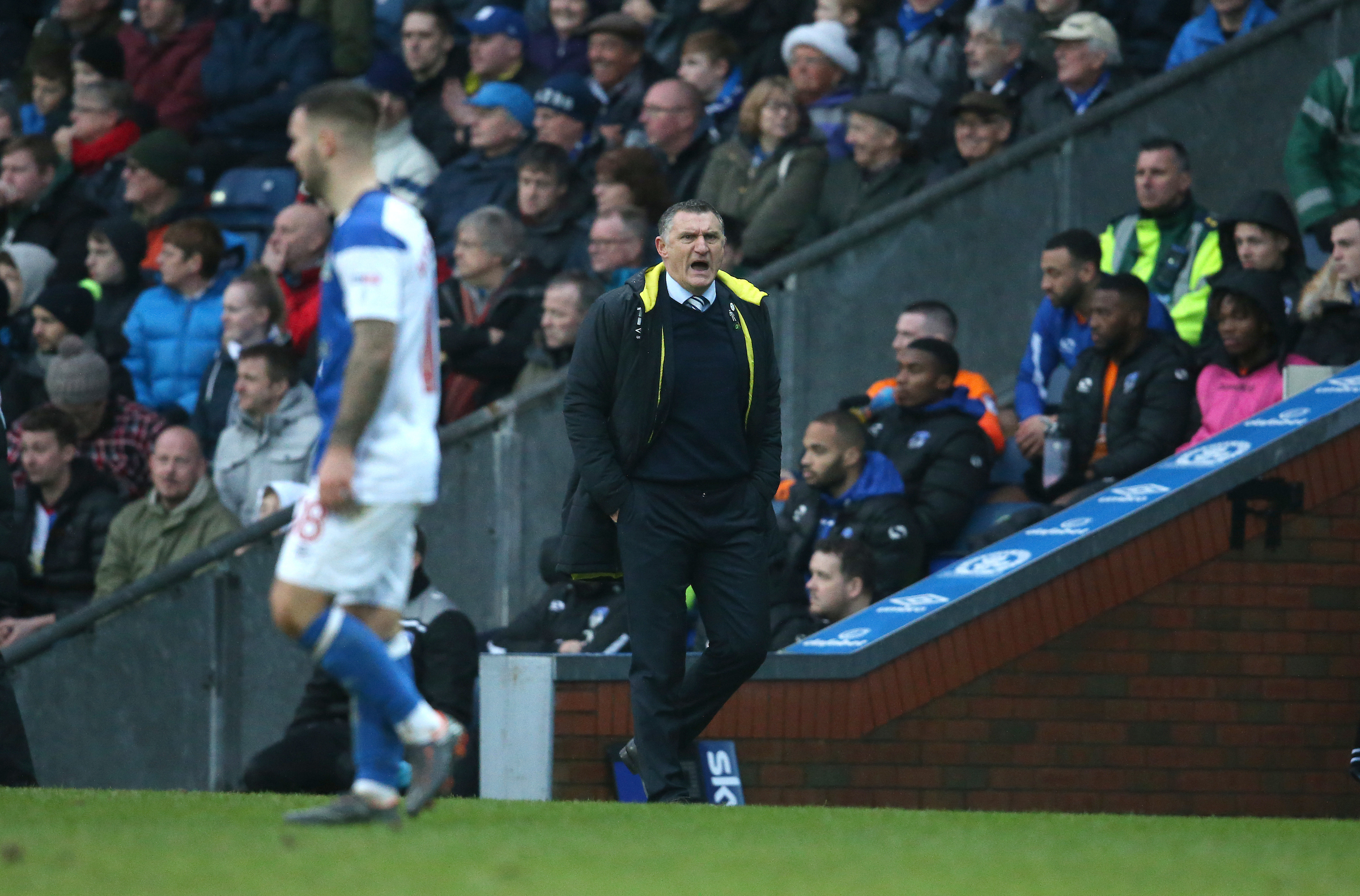 Tony Mowbray sends out instructions during Rovers' draw with Oldham Athletic