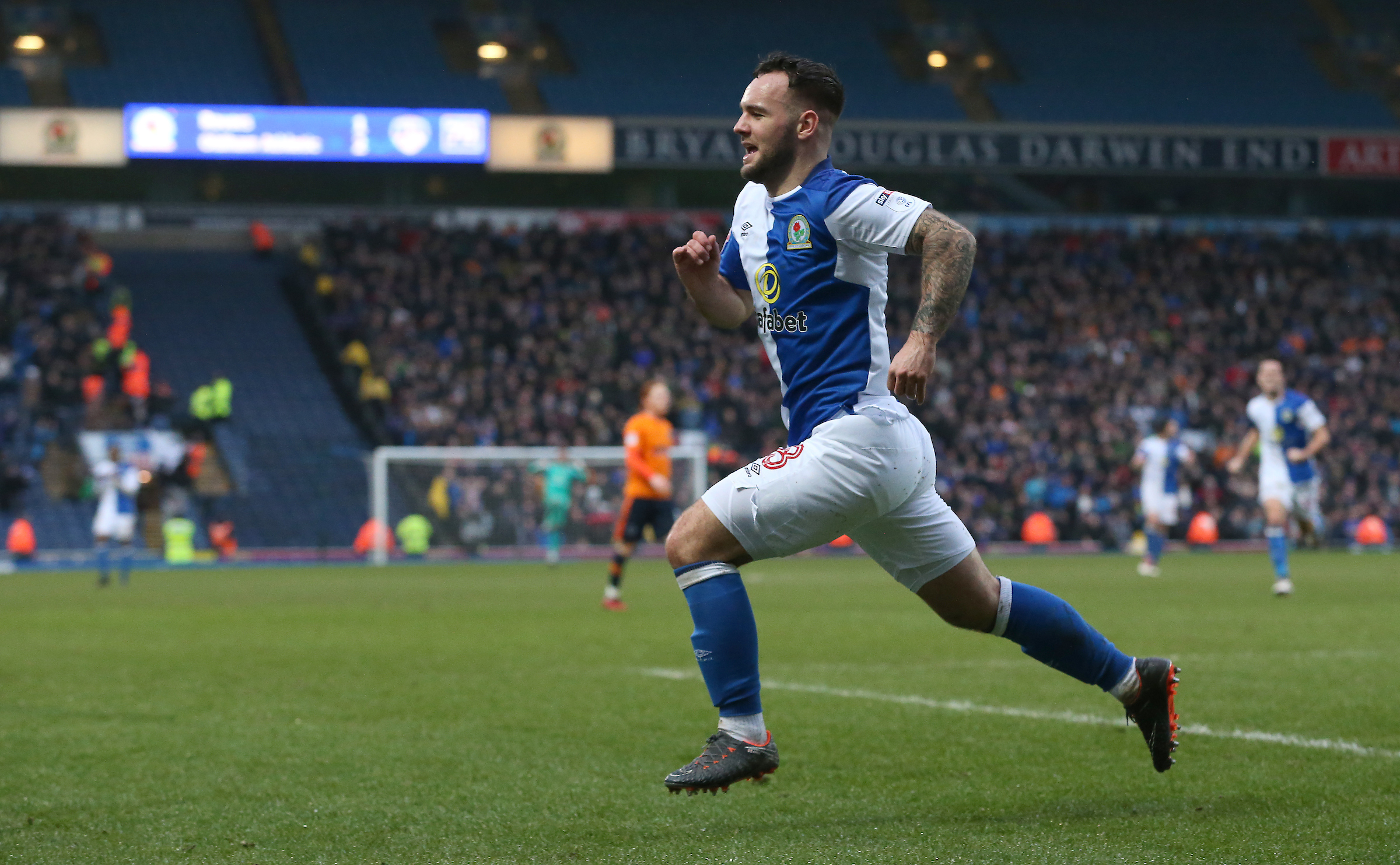 Adam Armstrong celebrates his equalising goal in Rovers' draw with Oldham Athletic