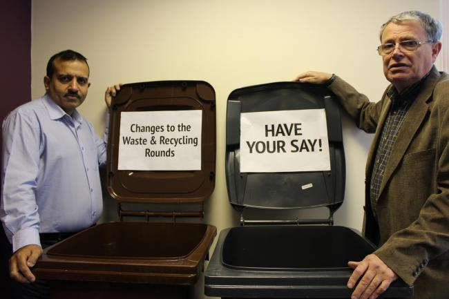 Councillors Mohammed Iqbal and David Clegg during Pendle Council's refuse and recycling collection consultation