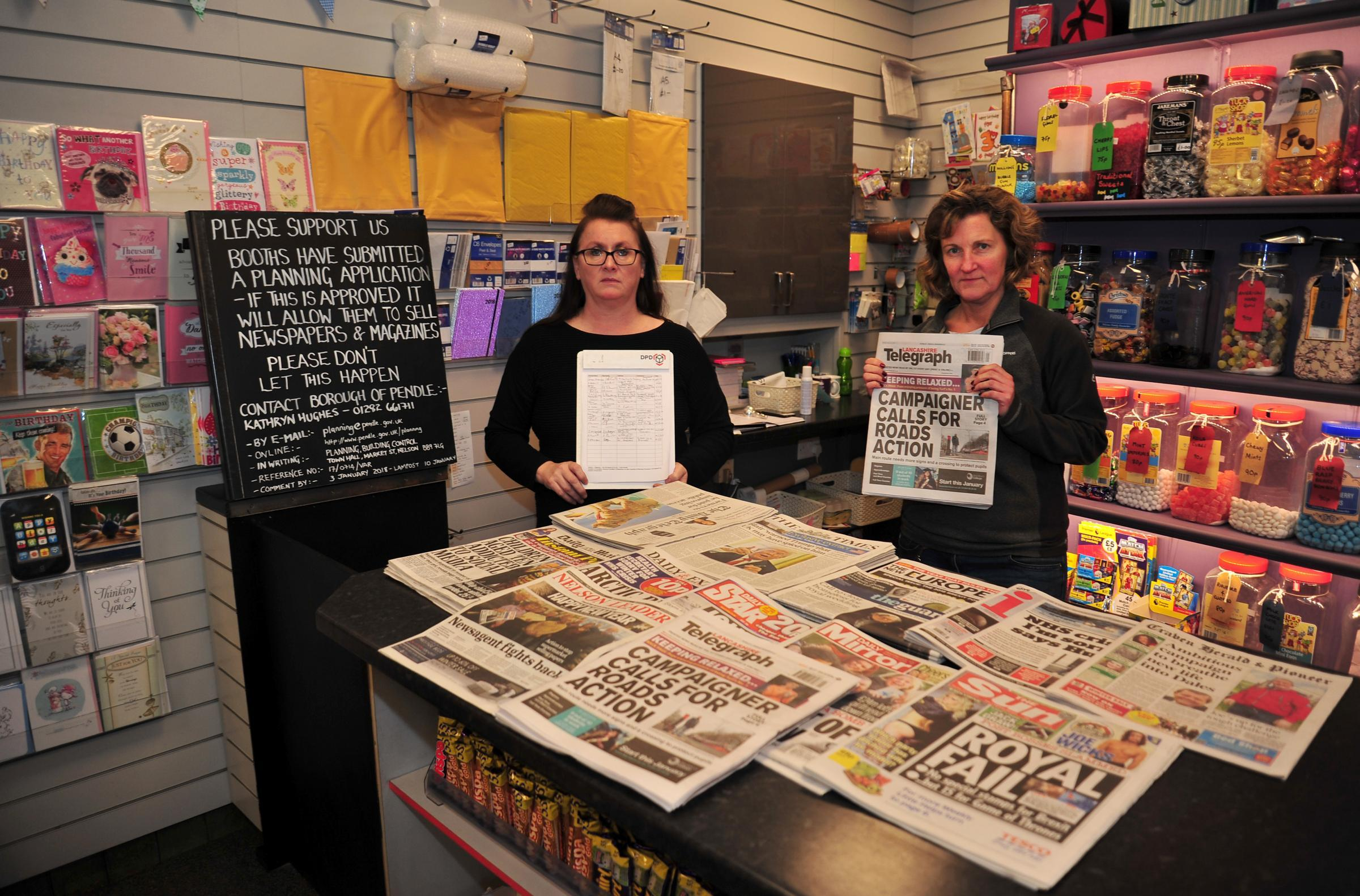 Julie Mac Adam, owner and Nicola Clegg, manager at the newsagents opposite Booths in Barrowford