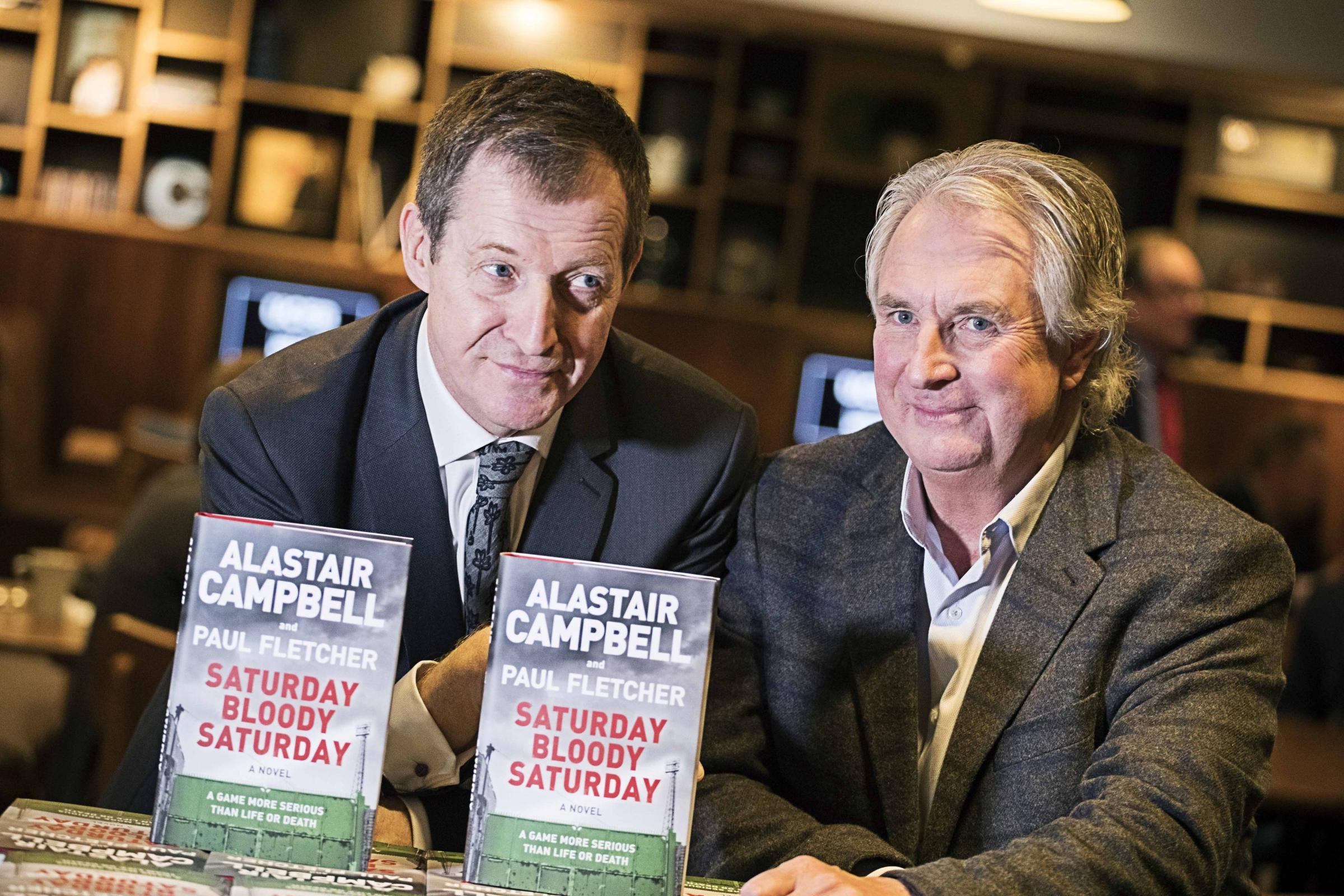 Alastair Campbell and Paul Fletcher at the launch of Saturday Bloody Saturday
