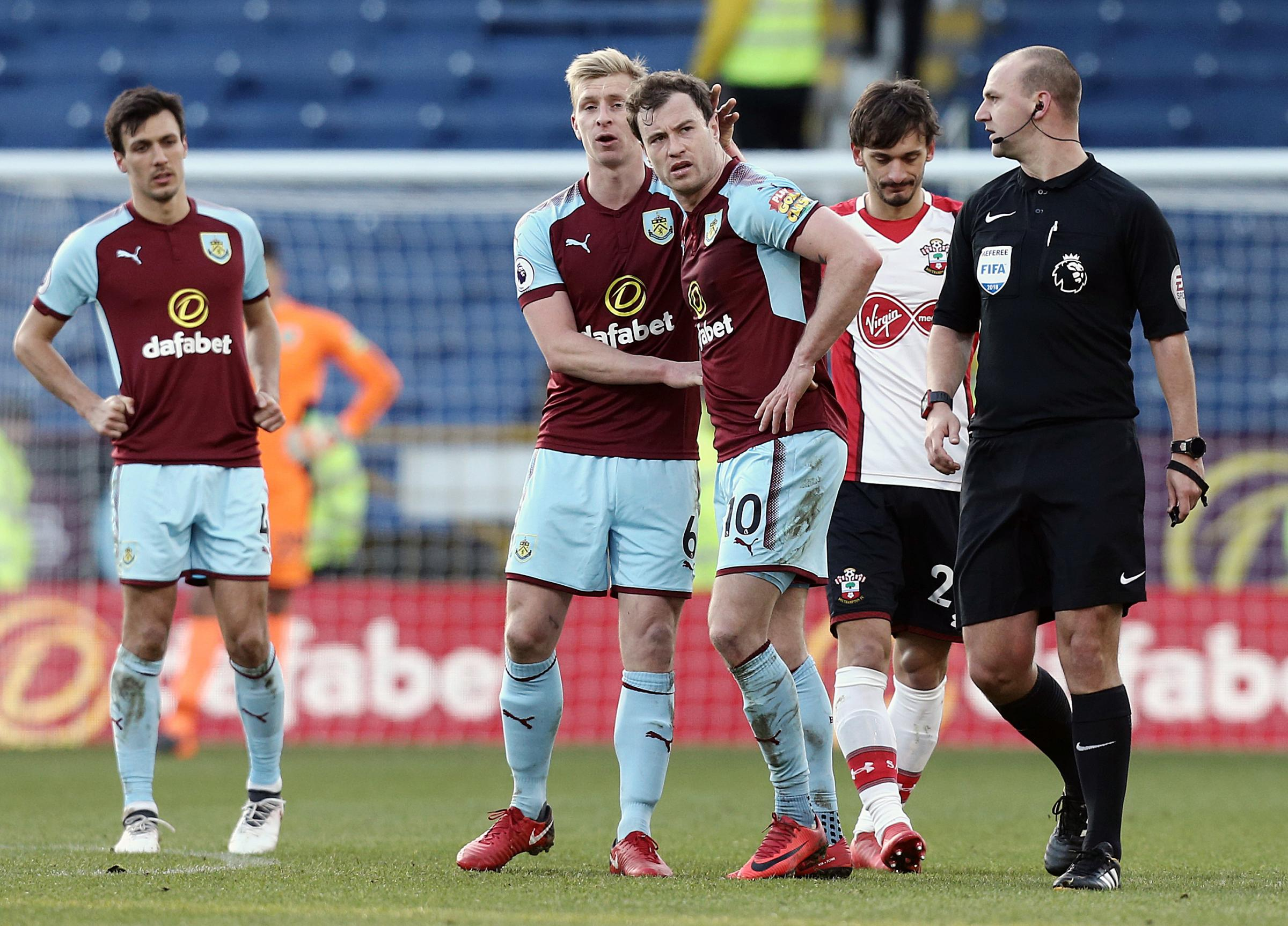 Bobby Madley was the centre of attention in Burnley's draw with Southampton