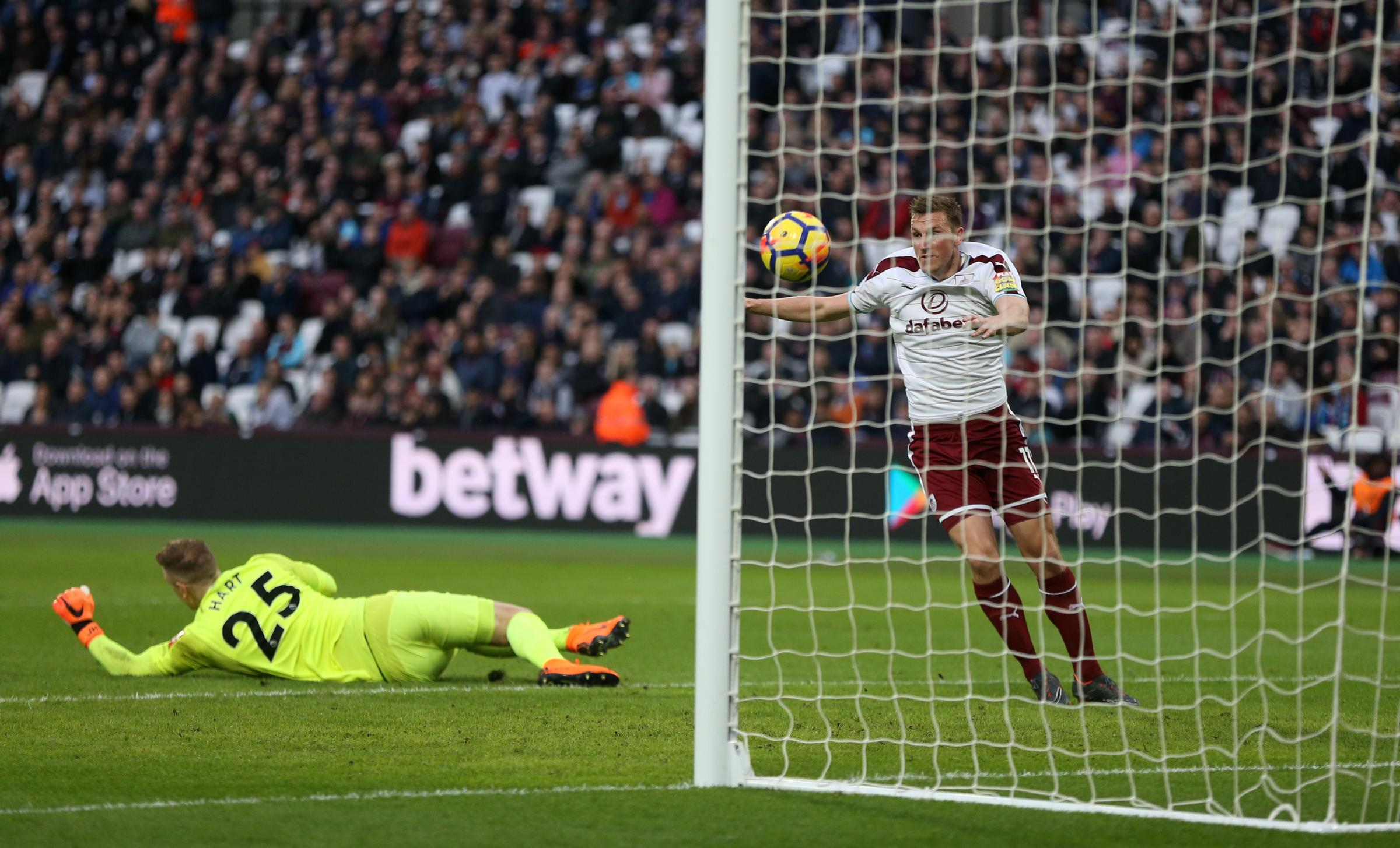 Chris Wood scores Burnley's third goal in the win at West Ham
