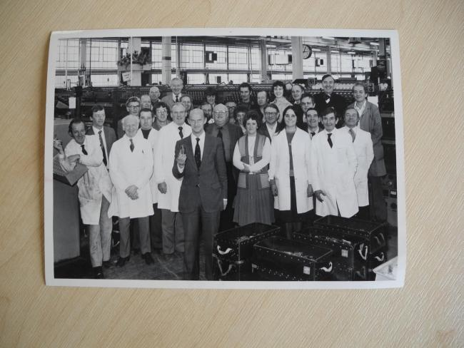 The workers at Mullard Blackburn who produced the very last value off the line in 1982.