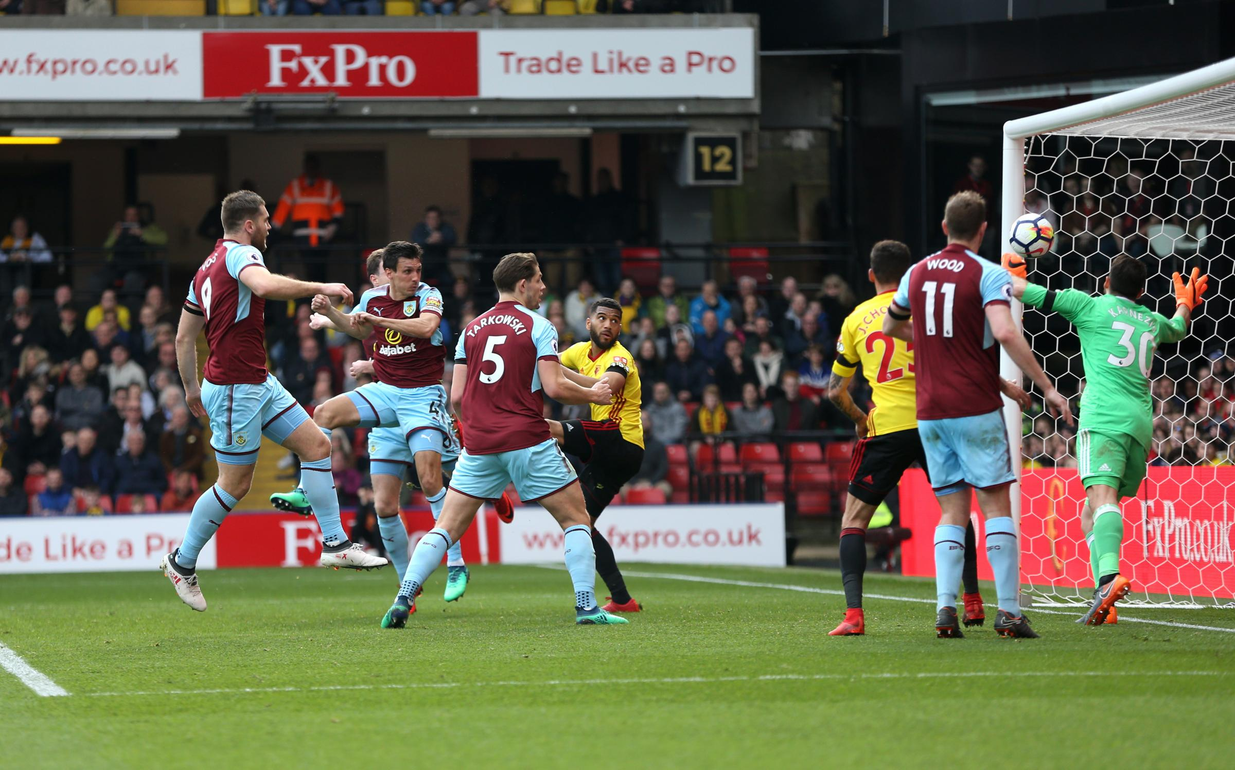 Jack Cork heads in Burnley's winner at Watford as the Clarets made it four wins in a row