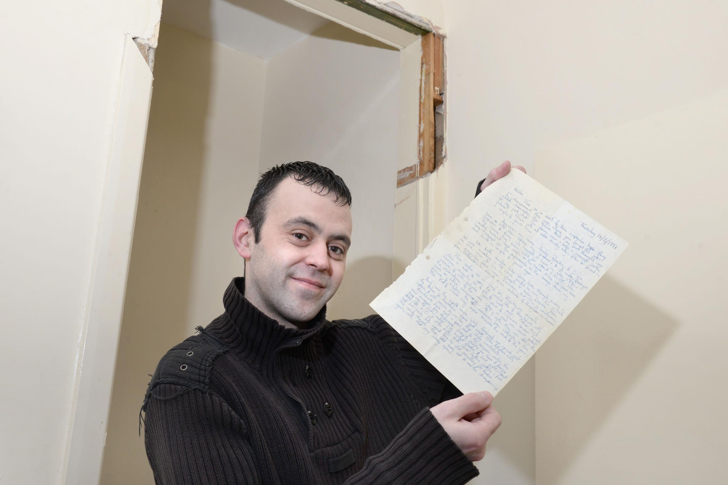 Paul McAuley when he found a time capsule letter in the wall of his house dating from 20 years ago