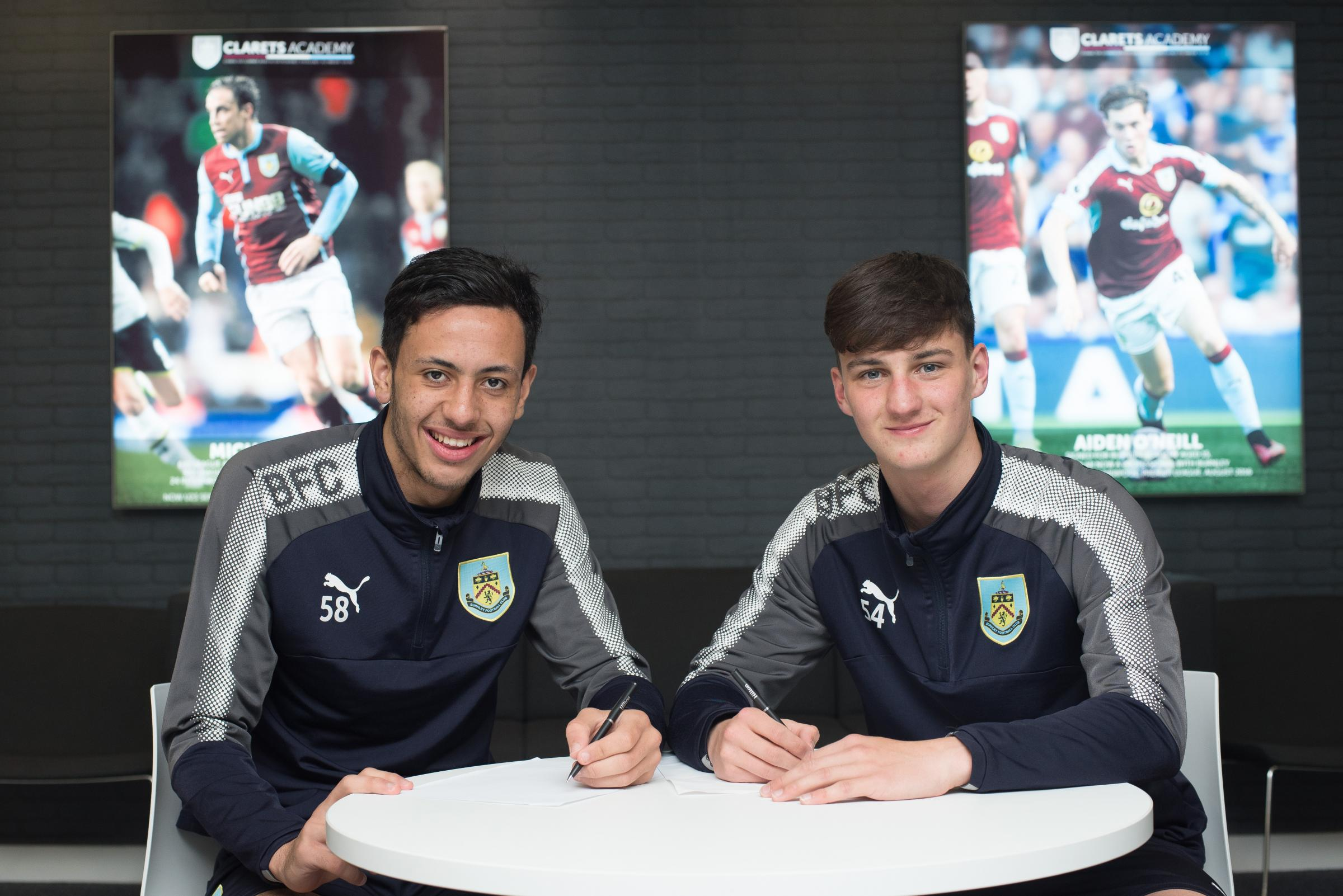 Dwight McNeil (left) and James Clarke have signed their first professional contracts at Burnley. Picture: Burnley FC
