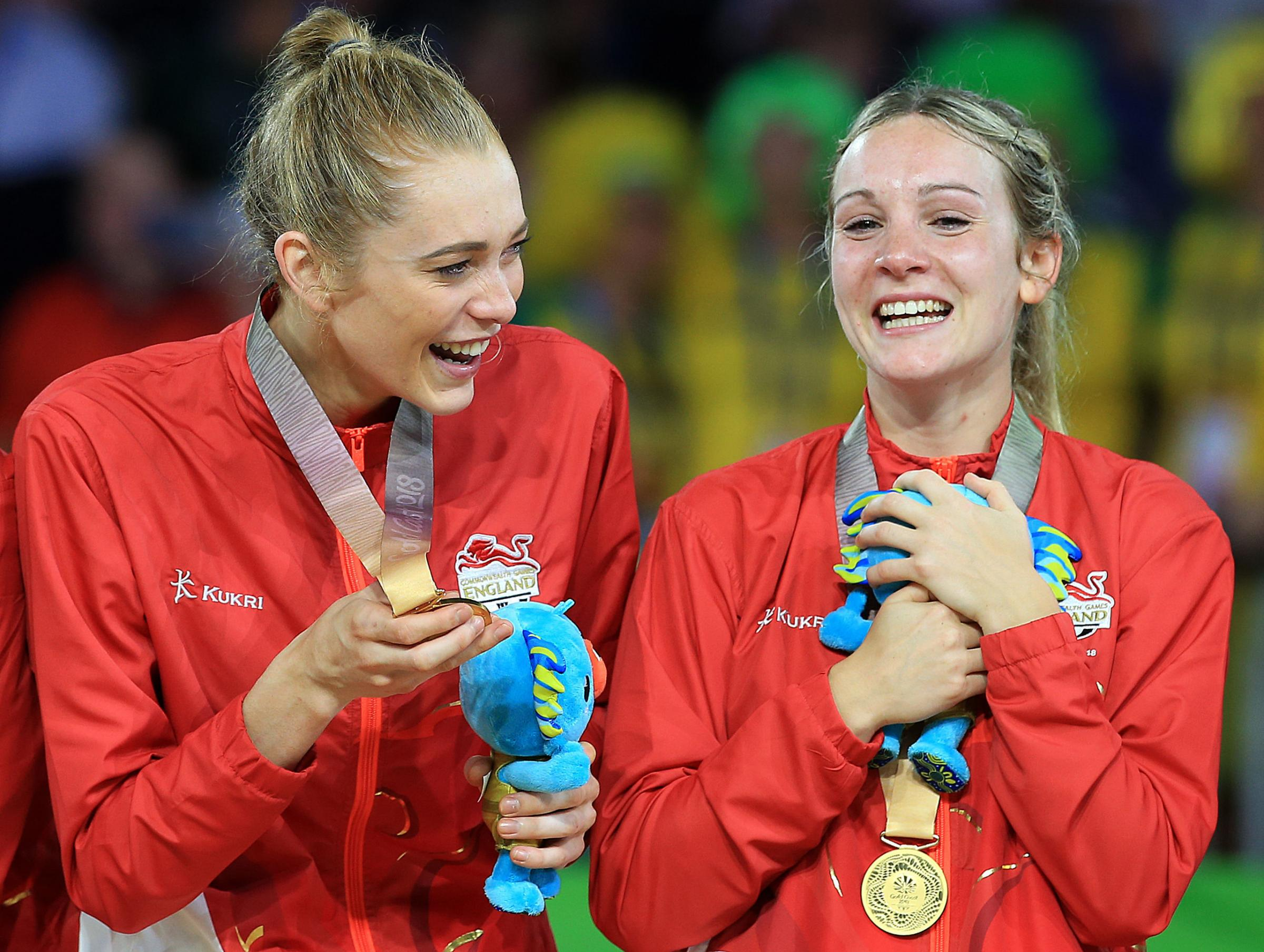 Helen Housby and Natalie Haythornthwaite (right) celebrate with their gold medals
