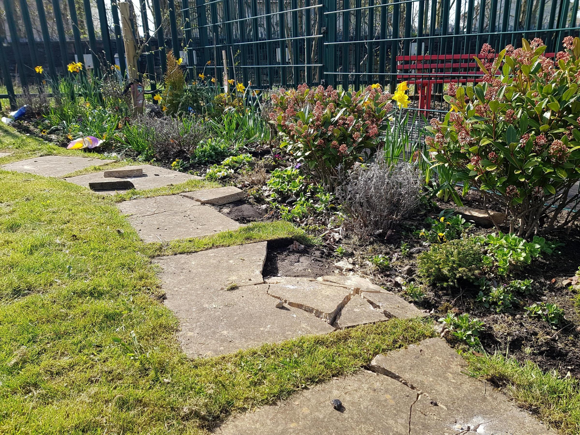Damaged caused to Daisyfield Primary School memorial garden, which was made in memory of Adam Limbada