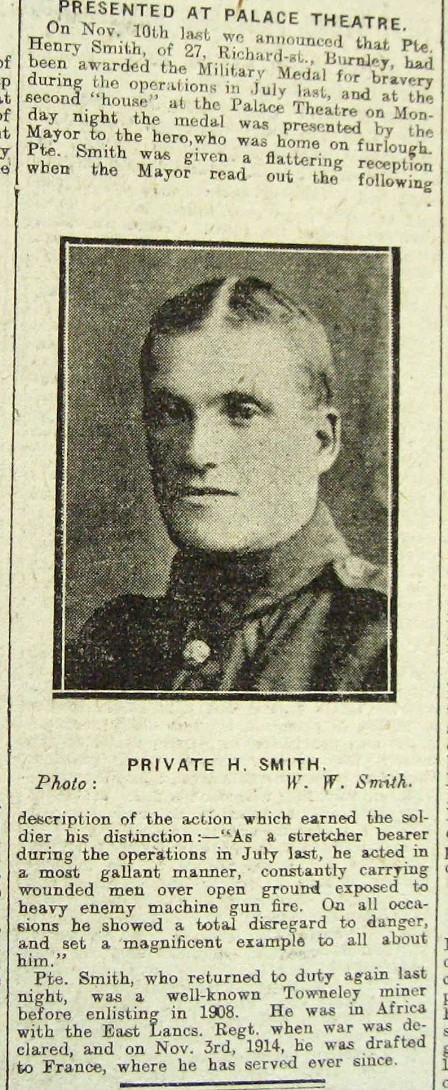 Private Henry Smith's obituary in the Burnley Express on March 20, 1918