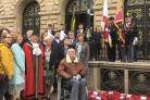 Family of the war heroes with the Mayor and Mayoress of Blackburn Cllrs Colin and Jean Rigby