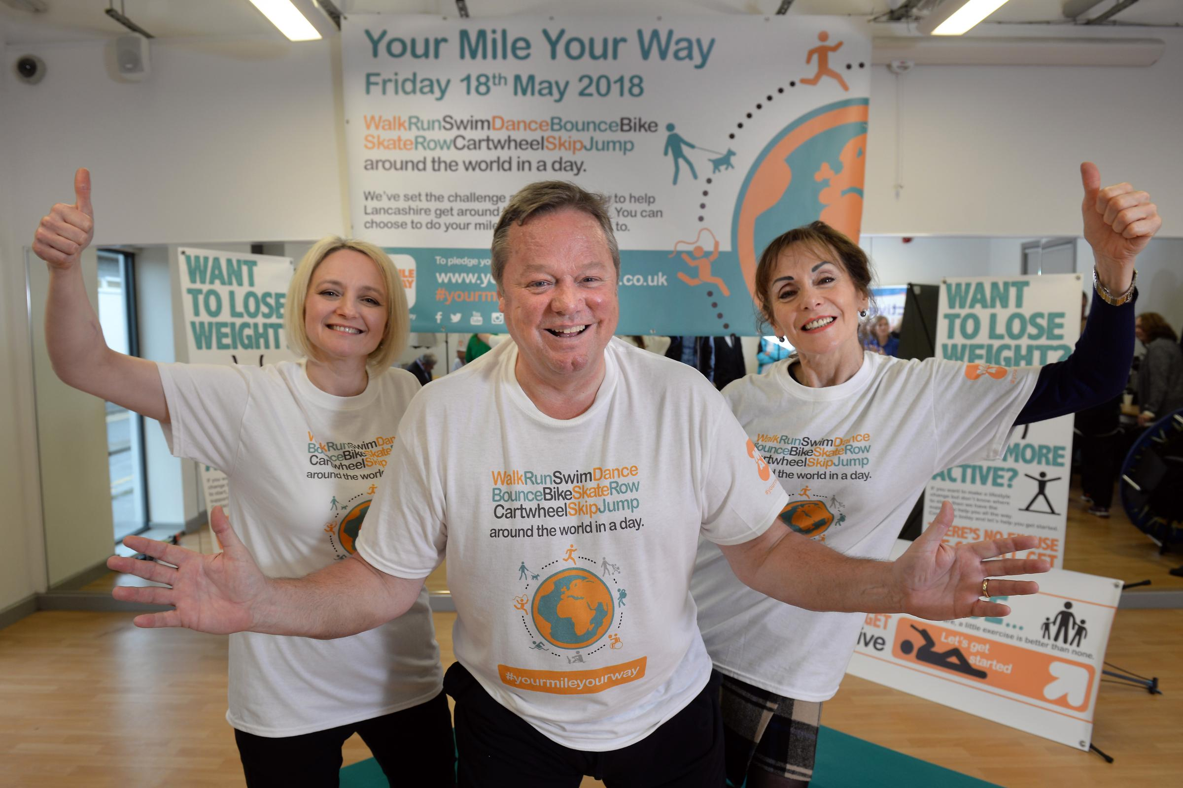 Your Mile Your Way Launch at Marl Pits, Rawtenstall from left Burnley mum-of-three Diane Smith, Ted Robbins, Linda Searle