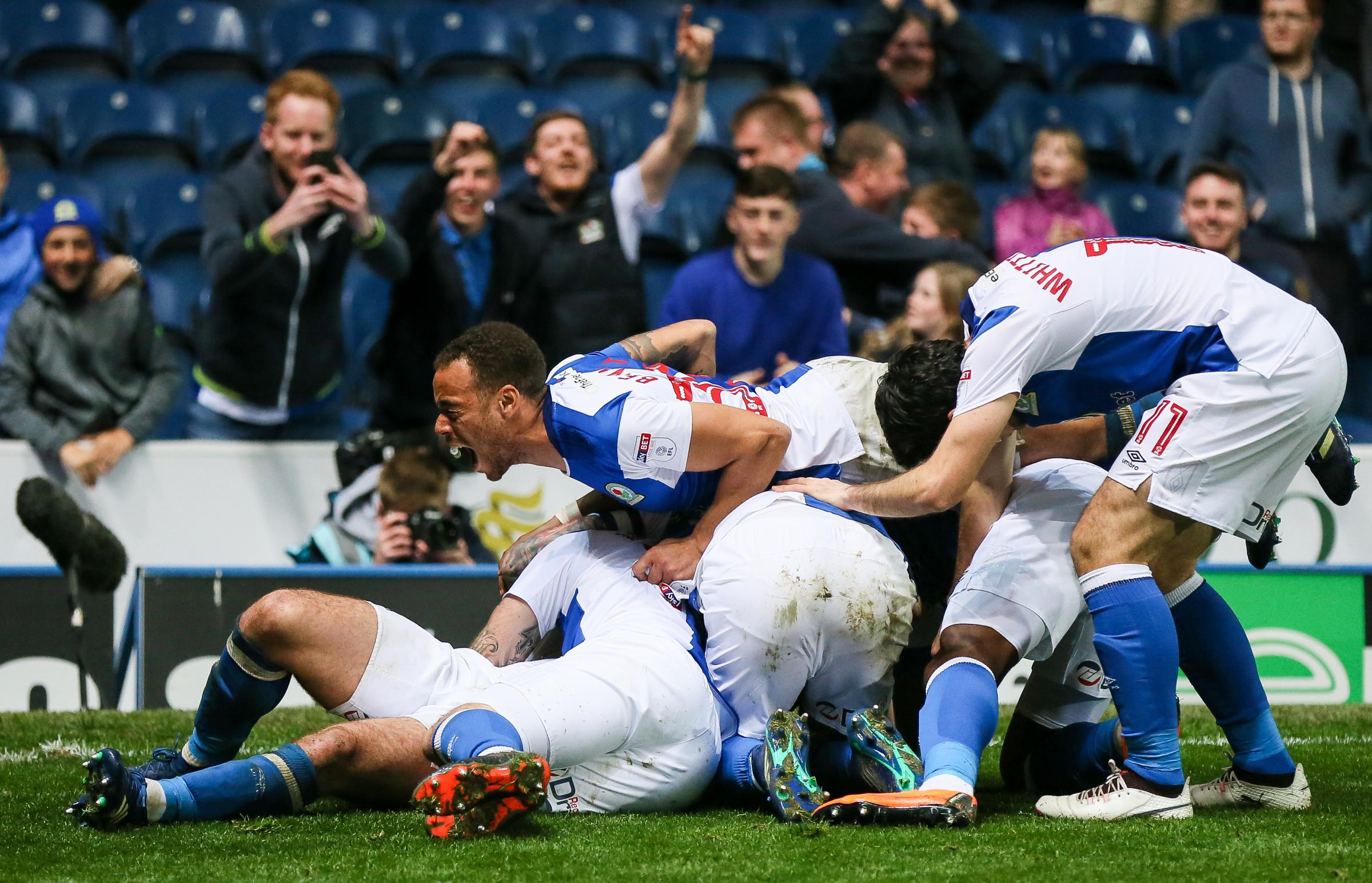 Blackburn Rovers' players celebrate their third goal..Photographer Andrew Kearns/CameraSport..The EFL Sky Bet League One - Blackburn Rovers v Peterborough United - Thursday 19th April 2018 - Ewood Park - Blackburn..World Copyright © 2018 CameraSpor